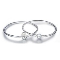 Wholesale New Arrival Charm Bangle Sterling Silver Bracelet Fit European Charms Beads CM Length DIY Jewelry
