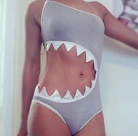 animal monokini - 2015 Cute Shark Mouth Style Swimsuit Monokini Women One Piece CUT OUT Shark Bite Swimwear Bodysuit Bathing Suit Plus Size XL