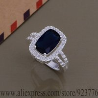 bi rings - AR706 sterling silver ring silver fashion jewelry bi wring inlaid dark blue stone bwiaknpa csgaljna