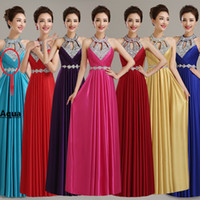 Wholesale New Spring Summer A line Bridesmaids Dresses Sexy Backless Halter Party Prom Gowns Fashion Sequines Crystals Bridesmaid Dresses
