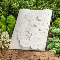 Wholesale White Elegant Laser Cut Ribbon Bow Decor Invitation Card New Party Event Wedding With Envelope Inner Card CW5177