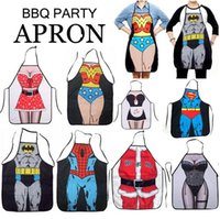apron - 2015 New Novelty Funny Superhero Series Superman Spider man Batman Aprons Sexy Men Women Kitchen Cooking Chef Apron Style
