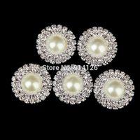 diamante buckles - 100pcs Rhinestone Buckle Diamante Two Row Crystal Round Circle Ivory Pearl Embellishment Wedding Invitation card Decoration