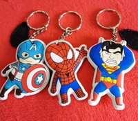 Wholesale 2015 The Avengers key chains very lovely Batman Spiderman Superman Iron Man Hulk key rings DHL