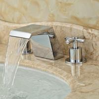 Wholesale Luxury Bathroom Waterfall Handles Holes Widespread Brass Basin Mixer Faucet Deck Mount Bath Water Taps