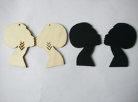 wooden earrings - pair cm Afro Girl Wooden Earrings can mixed colors