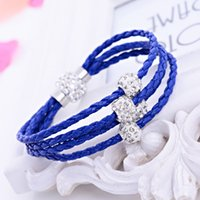 beaded braid bracelet - Brand New Shamballa PU Braided Leather Bracelet CZ Disco Crystal Bead Bracelet Handcraft Bangle Bracelets Wraps Colors