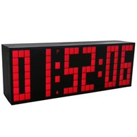 Grandes relojes de pared azul España-Grandes grandes Jumbo LED reloj pantalla de la mesa de escritorio pared de alarma de control remoto calendario Digital Timer LED reloj azul reloj