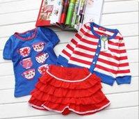 Cheap kids short sleeve t shirt skirt Best striped cardigan girl
