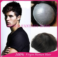 hair wigs for men - Cheap Price human hair toupee for man black color indian remy hair full PU thin skin injected hair piece quot x9 quot size