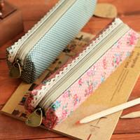 Wholesale 48pcs Cosmetic Makeup Bag Zipper Pouch Purse korean fabric New vintage dots flower lace pencil case school supplies stationery pc01