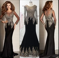 Wholesale Real Picture New Sexy Sheer Long Sleeves Satin Mermaid Floor Length Evening Dresses Lace Applique Prom Dresses BO7338