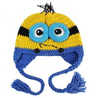 Wholesale 2015 Despicable Me3 Minions Kids Woolen Hat Baby Ear Muffs Hat For Girl Boy Hallowmas Party Cosplay