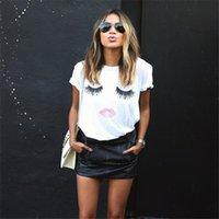 Wholesale The new summer wear lashes lips Red lip print female money short sleeve T shirt woman C9004