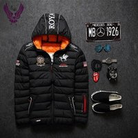 men long coat jacket - 2016 new men s winter warm down jacket brand cotton embroidery men down parka coat jacket printing Outdoor fashion sport hooded