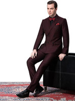Wholesale Side Vent Double Breasted Burgundy Groom Tuxedos Peak Lapel Groomsmen Mens Wedding Suits Clothing Prom Suits Jacket Pants Tie AA1120