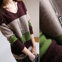 Wholesale Slim Women Sweater Charming long sleeve v neck pullover Cashmere Blend striped Female Sweater