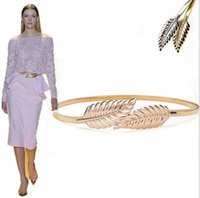 Wholesale Gold Silver Leaf Slim Belt Women Chain Metal Spring Elastic Dress Accessorie Waistband