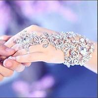 venda por atacado reparação zipper-2016 Novo Casamento Festa de Formatura Jóias Strass Cristal Diamantes Pulseira Com Anel Pulseira Bracelete CPA319