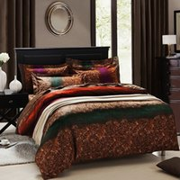 Cheap Mediterranean style bedding set theme quilt cover set with luxury coffee bedsheet 100% cotton bedclothes set