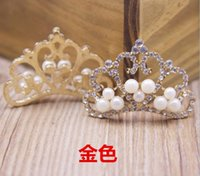 Wholesale Fashion New Pearl Rhinestone Diamond Crown Princess Accessory Pearls Beaded Rhinestones Crowns Girls Women Accessories DB