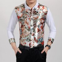Cheap Wholesale-Luxury Brand Mens Shirts Long Sleeve Man Shirt Real Silk Long Sleeve Floral Leopard Patchwork Business Fashion Dress Tops