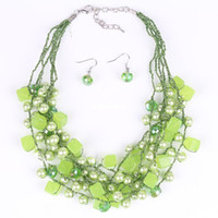 Wholesale PN12609 Fashion Jewelry Sets Glass Plastic Beads Green White Color New Arrival