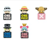Wholesale 10sets Anime One Piece Dust Plug Mini PVC Figure Toys Trafalgar Law Luffy Sabo Chopper Sugar size in cm packed in box