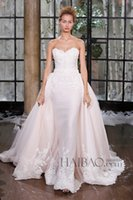 dresses new york - Detachable Wedding Dresses Pale Pink Lace Bridal Gowns Sheath Sweetheart Neck Zip Back Sweep Train Tulle Bridal Gowns New York