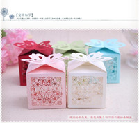 Wholesale New Arrival New Cut Love Heart Laser Gift Candy Boxes Elegant Butterfly Wedding Party Favor box With Ribbon white red blue pink