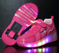 roller skate shoes - Flashing Roller Skates Children Heelys Roller Sneaker With One Wheel LED Lighted Kids Boy Girl Shoes Zapatillas Con Ruedas