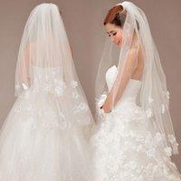 applique cutting - New Sale Romantic Cheap White Flower Wedding Veils Applique Fashionable Bridal Accessories Bridal Veils Wedding Veil