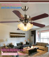 Wholesale inch Ceiling Fan With Light and Remote Control Stainless Stell Leaf Led Bulb Kitchen Living Room Fan Light Indoor Light