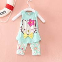 Wholesale Retail New Children s Clothing Girls Clothing Sets Kitty Vest Flower Pants Set Kids Summer Clothes ZKC075