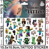Wholesale 2016 MINECRAFTTATTOO Stickers Cartoon Littlle pony Frozen Minions Temporary Tattoos Sticker cmx10 cm Body art DHL free