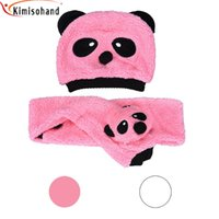 Wholesale Kimisohand New Arrival Fashion Baby Girls Boys Cotton Velvet Two Pieces Panda Hat Scarves