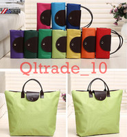 bags chic - 300PCS LJJH991 Hot Sell Colorful Chic Portable Fashion Tote Reusable oxford bag Folding Shopping Travel Bag