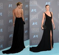 award choice - Rosie Huntington Whiteley Black Evening Wear Dresses Split Critics Choice Awards in Santa Monica Backless V Neck Pageant Formal Gowns