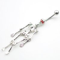 bell skull - 0034 Newest SKULL style navel belly ring piercing body jewelry RED color stone drop shipping
