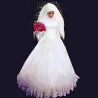 Wholesale A line wedding dress with hijab Beaded crystals High Neck Long Sleeve Dress lace sequined appliques Floor Length Muslim bridal gowns SA1114
