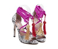 ankle strappy sandals - New Spring Summer Suede Fringe Ankle Strappy High Heels Women Sandals Boots Peep Toe Women Pumps Shoes woman