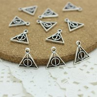 Wholesale 100pcs mm Antique Silver Plated Vintage Metal mini Harry Potter And Deathly Hallows Charms Jewelry Pendant AC