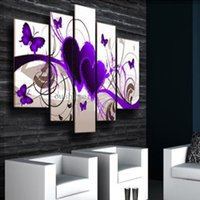 Cheap Hand-painted Purple Heart Love Butterfly Group Painting Free Shipping Sailing Art Group Oil Painting Pctures On Wall 5 Pcs