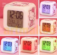 Wholesale 100pcs NEW LED Hello kitty Digital Color Change Alarm Clock Led Digital Alarm Clock Home Decoration Christmas Gift