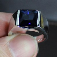 Wholesale Size Men s Silver Filled Square Blue Sapphire Wedding Ring