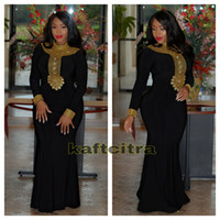 Wholesale Black Moroccan Kaftan Muslim Evening Dress robe de soiree Sexy High Neck Gold Beads Floor Length Mermaid Plus Size Party Prom Dresses