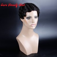 Wholesale short human hair wavy curly black wigs for black women machine made short kinky curly human hair wigs