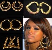 wholesale basketball wives earrings - Rihanna Basketball Wives Gold Tone Heart Bamboo Joint Hoop Earrings Jewelry Large Huggie Earrings