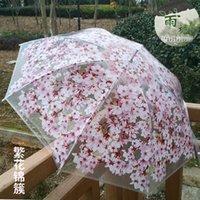 Wholesale Novelty And Personality Princess Long Handle And Folding Transparent Cherry Blossoms Umbrella Women Rain Umbrellas