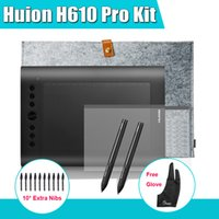 Wholesale Pens Huion H610 Pro Art Graphics Drawing Digital Tablet Kit Protective Film inch Liner Bag Parblo Glove Extra Nibs